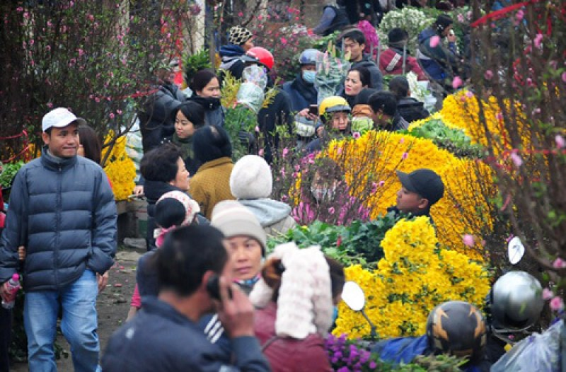 Explore the most famous flower market in Hanoi at night
