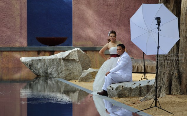 Newly married couple at a photoshoot in Hua Hin, Thailand