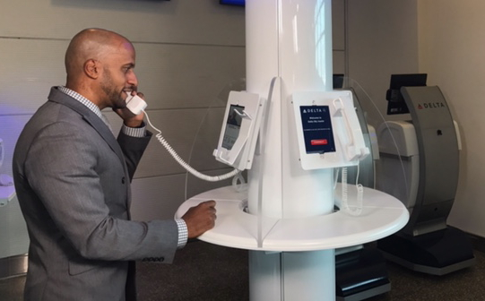 Delta Air Lines has enhanced its customer service operations at Ronald Reagan Washington National Airport (DCA) with live video chat. Interactive digital screens with individual receivers are now featured at the redesigned Delta Sky Assist so customers can connect face-to-face with Delta specialists. Click to enlarge.