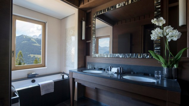 Luxury bathroom with a stunning view at Four Seasons Hotel Meg