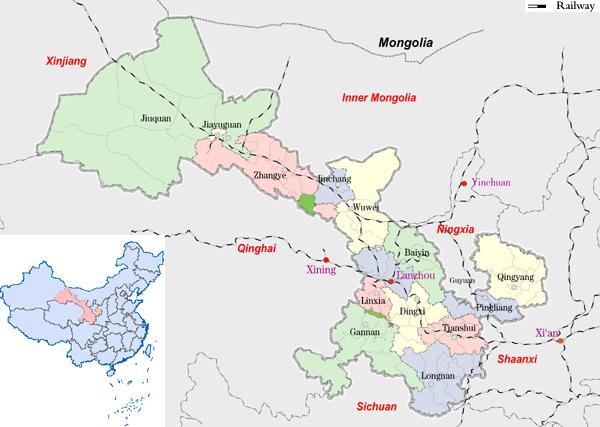 Map of Gansu
