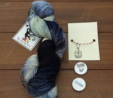 Dye Monkey Yarns - Coffee with Carolyn and Kait, progress keeper and buttons