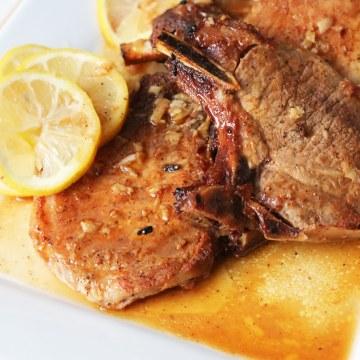 Oven-Baked Pork Chops in Lemon Butter Sauce