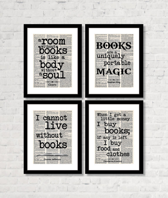 Home LIbrary or Reading Nook - Four Prints