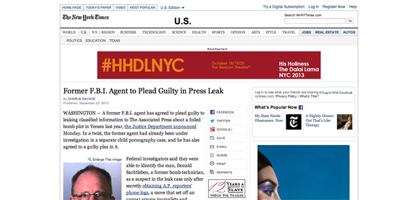 Former F.B.I. Agent to Plead Guilty in Press Leak   NYTimes.com