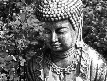Buddha in front bushes (1)