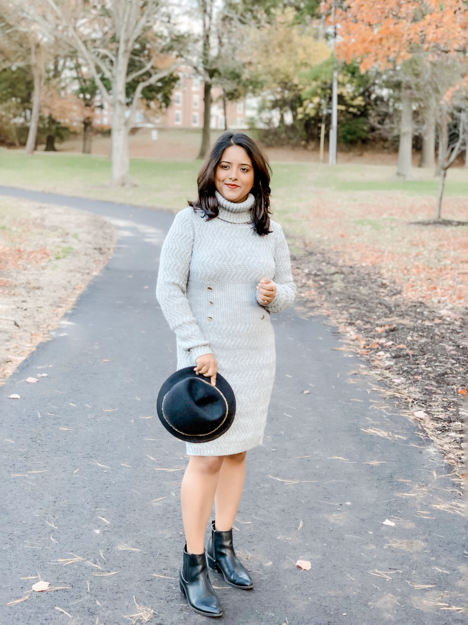 booties with sweater dress
