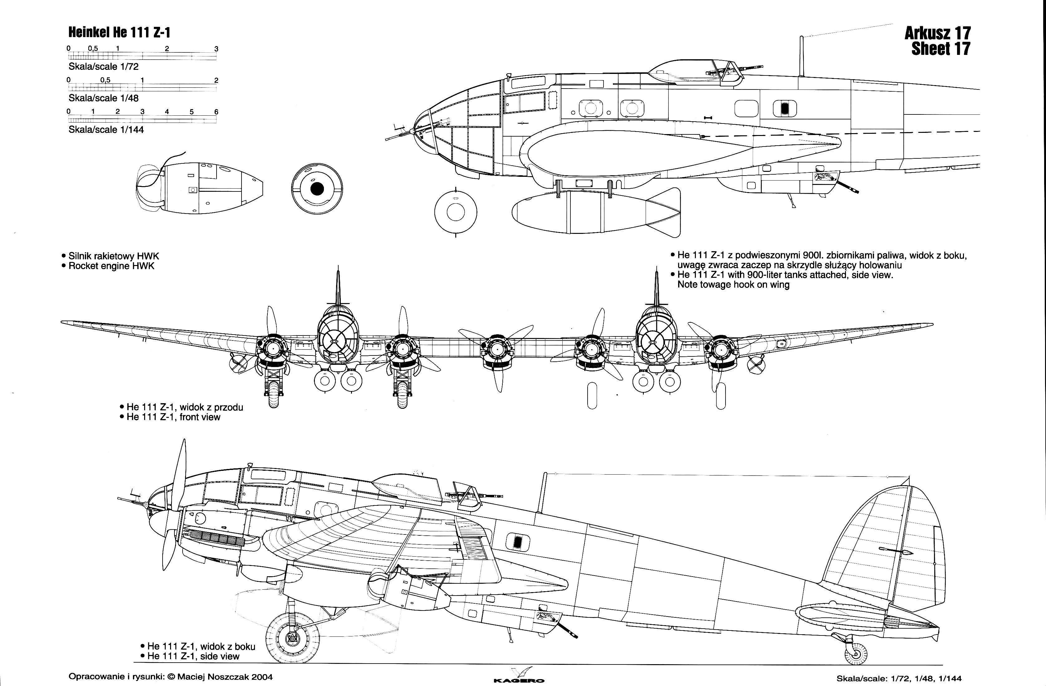 Asisbiz Artwork Line Drawing Or Blue Print Of A Heinkel He