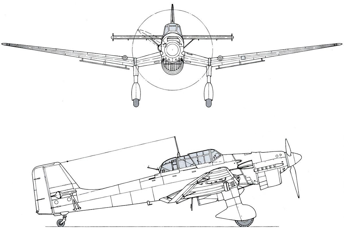 Asisbiz Diagram Of Junkers Ju 87b Stuka Side Profile View