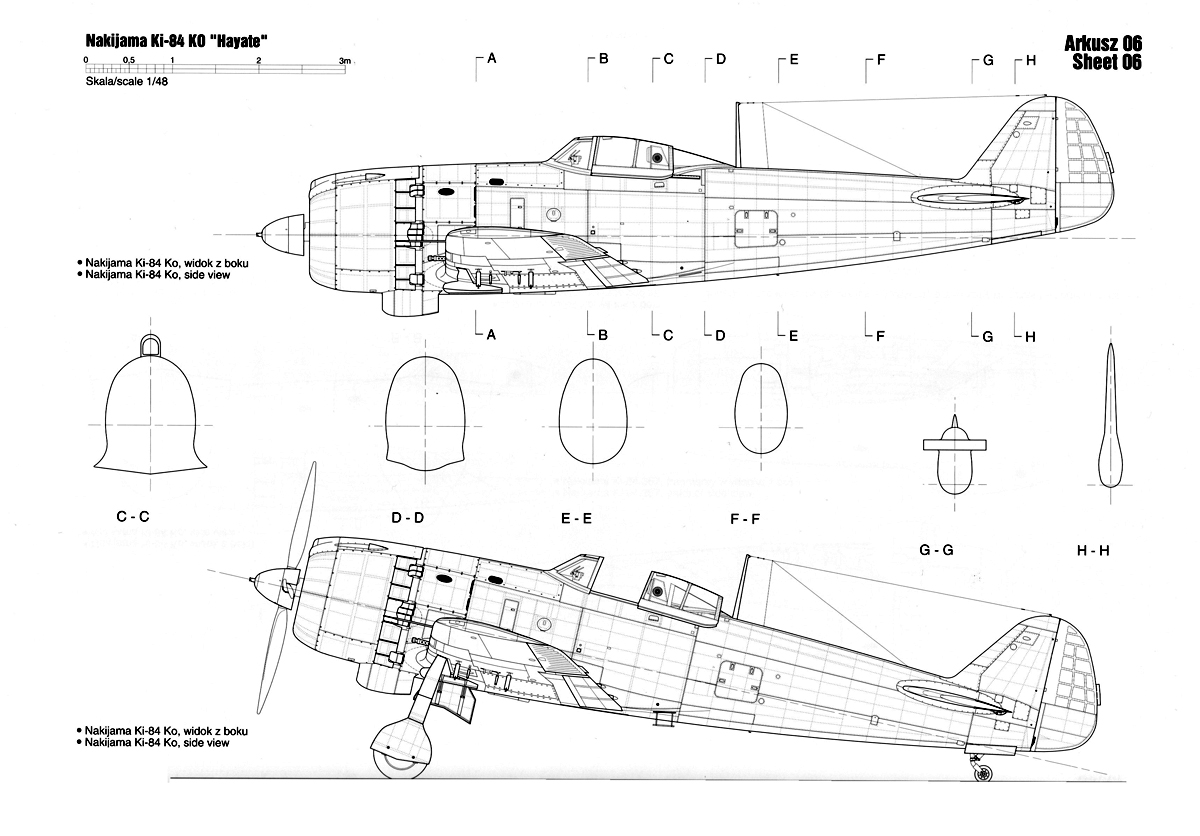 Asisbiz Artwork Nakajima Ki 84 Hayate Ko Technical Drawing