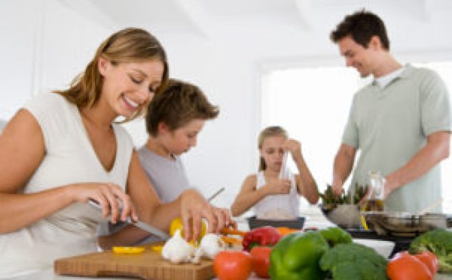 Family preparing food together