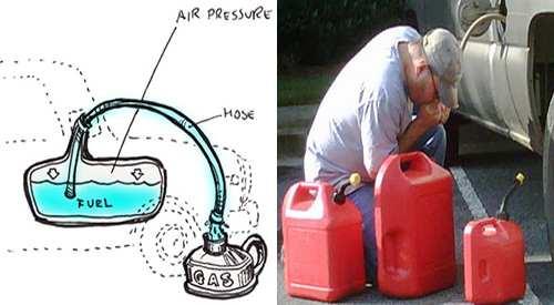 retrieving gas from car