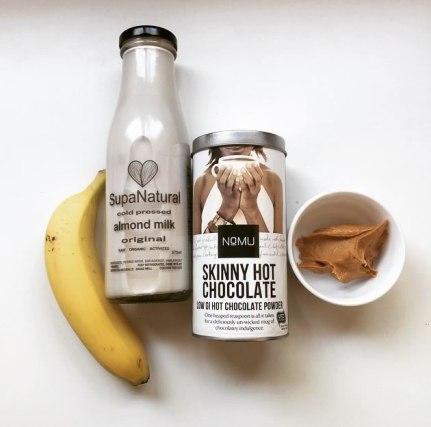 Nutribullet Smoothie Recipe: 1 banana, 200ml almond milk, 1tsp Nomu hot choc, 2tsp peanut butter & 5 ice cubes.
