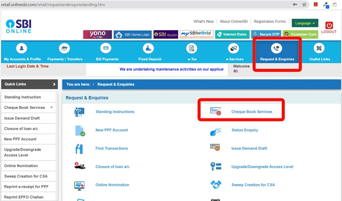 SBI Net Banking Positive Pay step 1