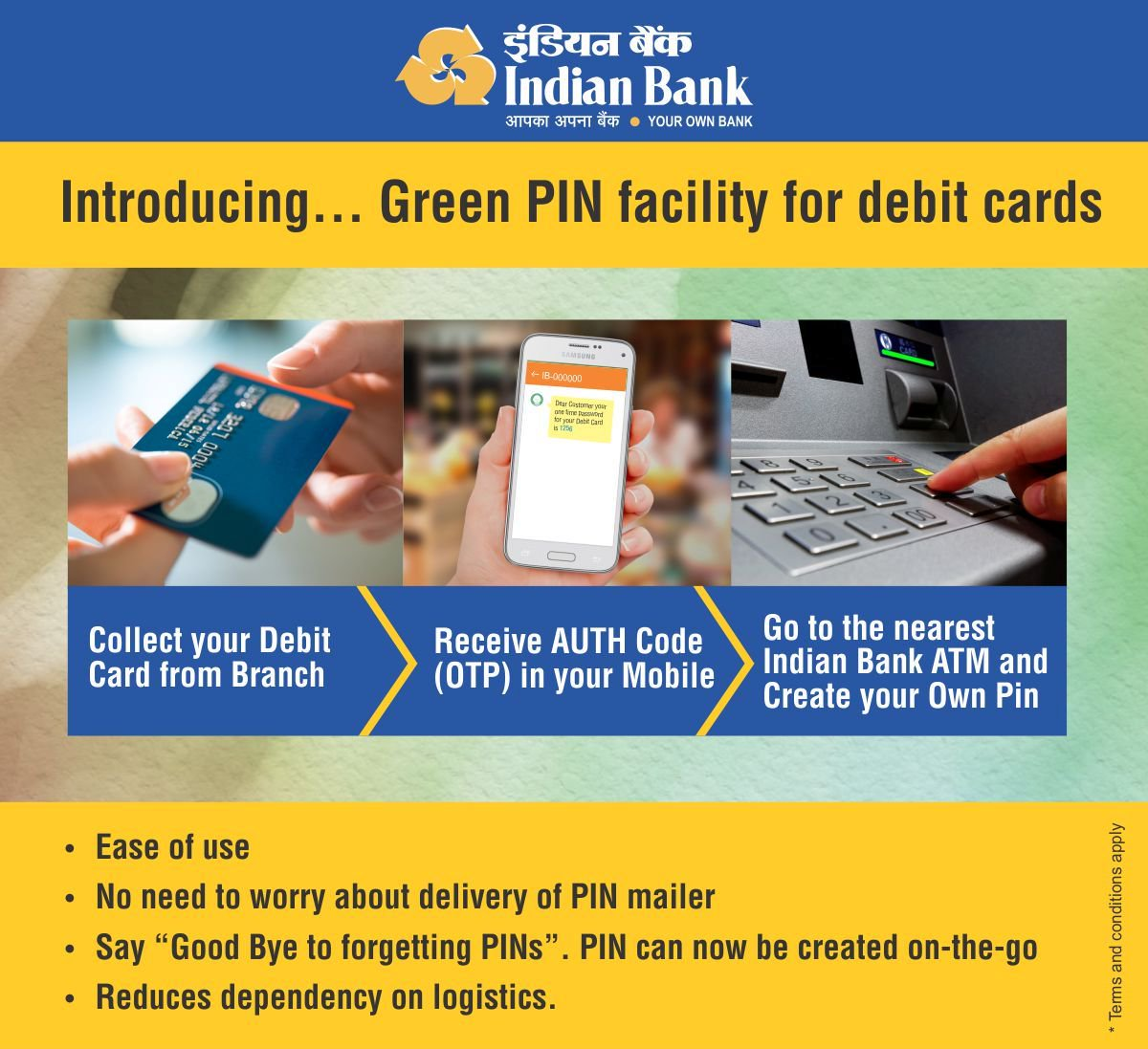 Indian Bank Duplicate ATM cum Debit Card PIN
