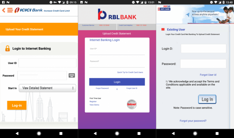 customer were asked to download the android playstore apps of these three banks on behest of enhancing the credit card limit