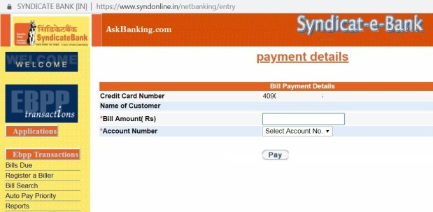 Syndicate-credit-card-bill-payment-details