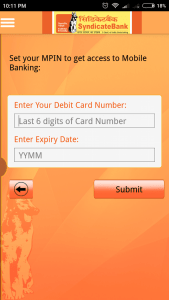 Syndicate Bank Mobile Banking mPIN