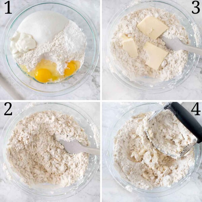 four images showing how to make cake dough
