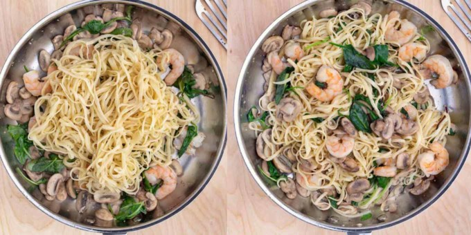two images adding and mixing pasta into the pan