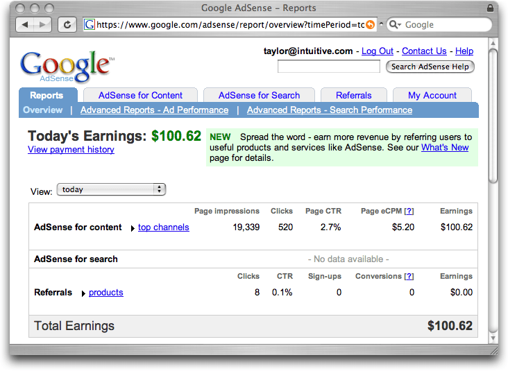 Google adsense Report Summary Page