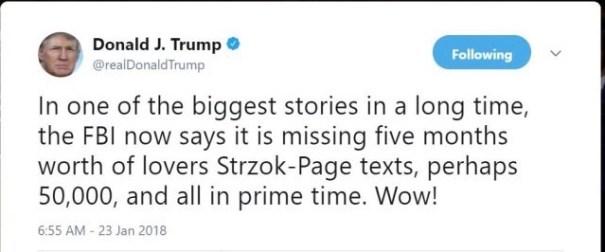 President Donald J Trump Twitter message