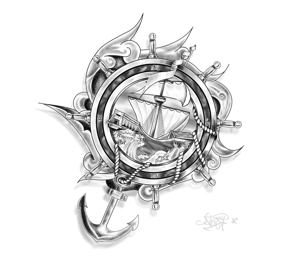 Ship Anchor And Ropes Tattoo Design