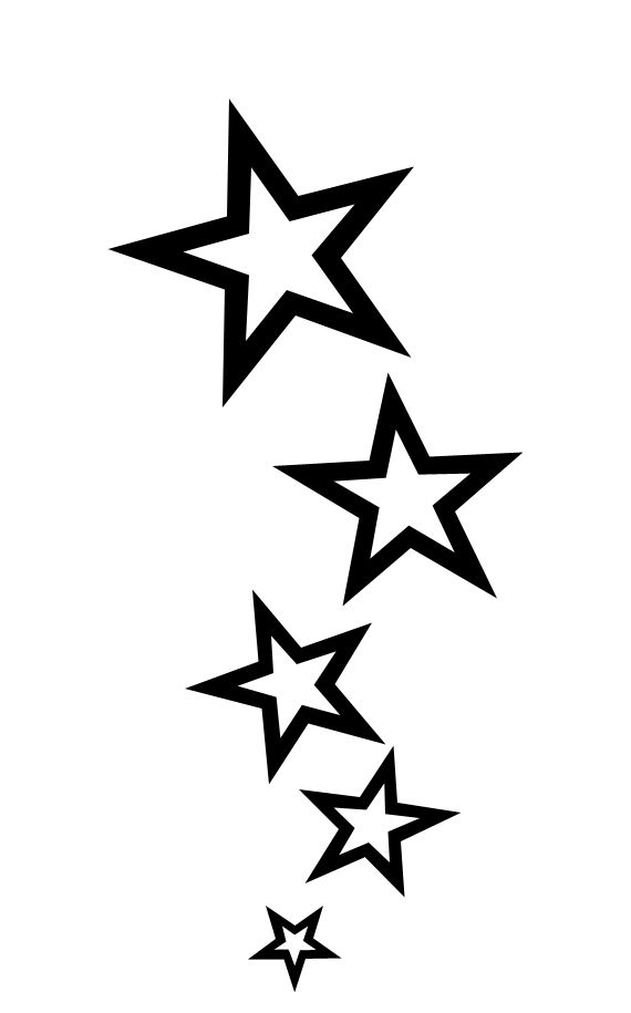 Shooting Outline 3d Stars Clip Art