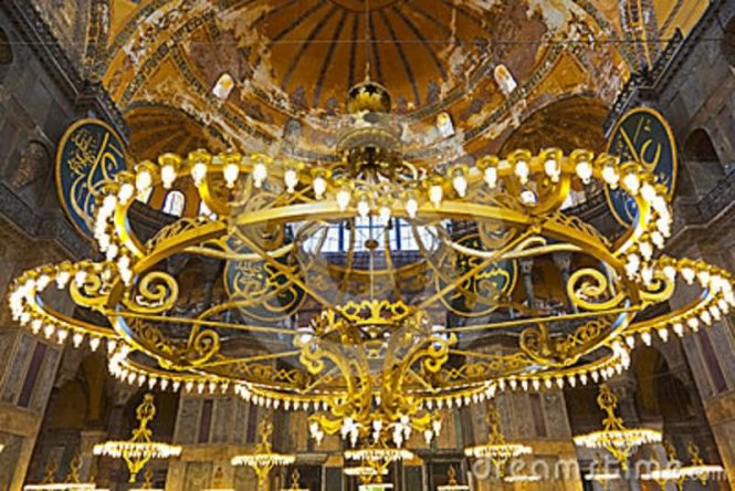 Lighting Chandelier Inside The Hagia Sophia Istanbul