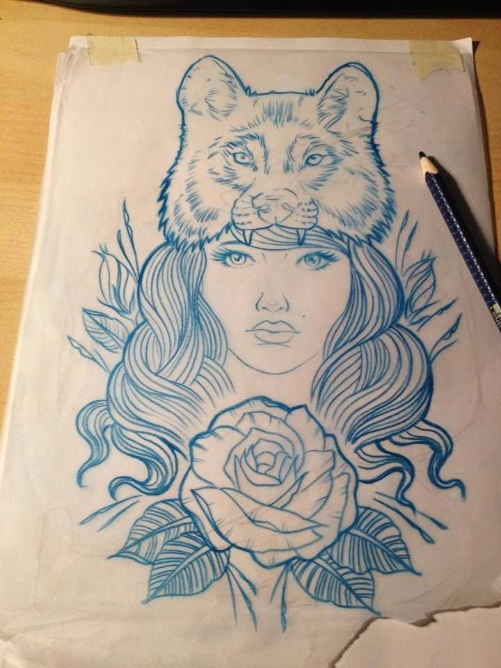 29 Nice Wolf Girl Tattoo Designs