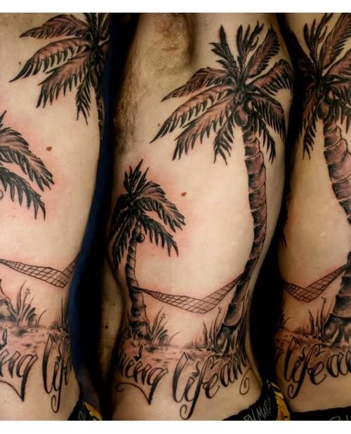Tattoo Black And Beach And Palm White Tree