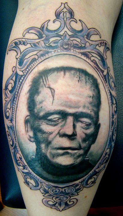 frame tattoo designs. Frankenstein Head In Frame Tattoo Design For Leg Calf By Sean Ambrose Frame Tattoo Designs