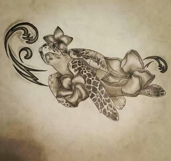 Drawing Turtle Wave Sea