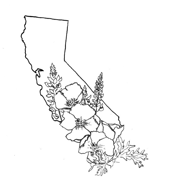California Map Tattoo Designs