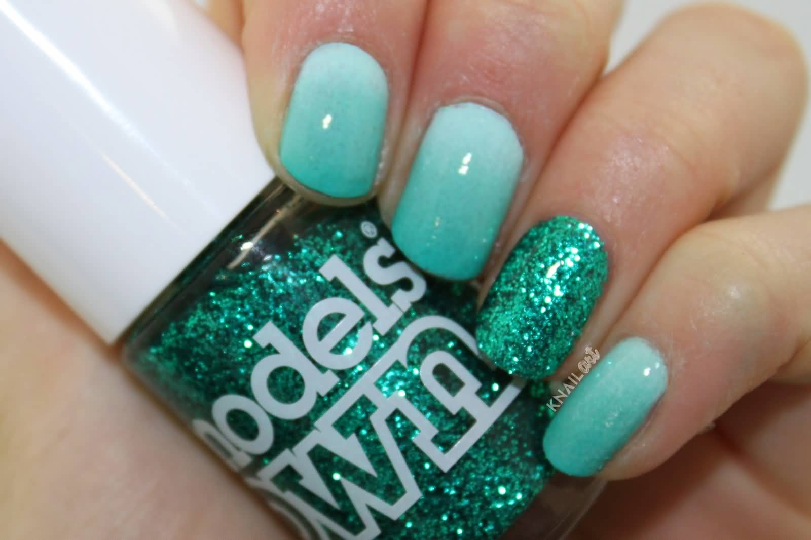 Aqua Grant Glitter Accent Nail Art