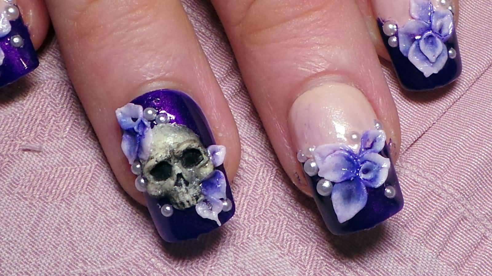 3d Skull And Flowers Nail Art Design Idea