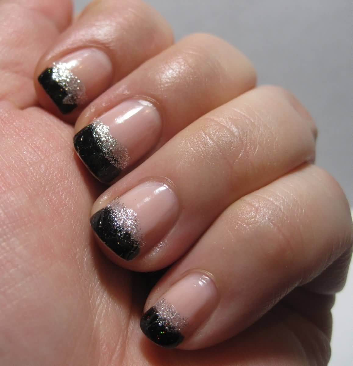 Black And Silver Glitter French Tip Nail Design