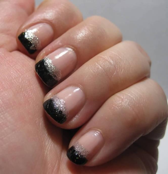 Black French Tips On Sti Shaped Nails