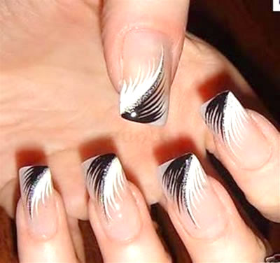 Black And White Feather French Tip Nail Art