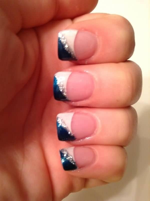Blue And White Diagonal Glitter French Tip Nail Art