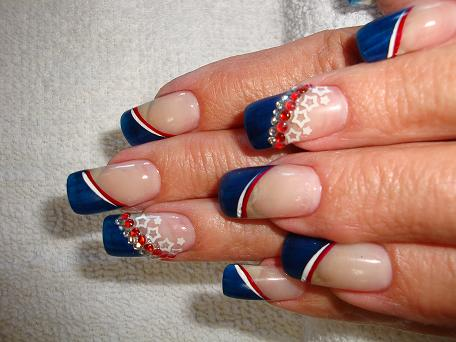 Blue French Tip Fourth Of July Nail Art