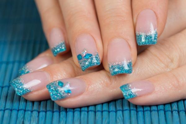 Blue Glitter French Tip Nail Art Design Idea