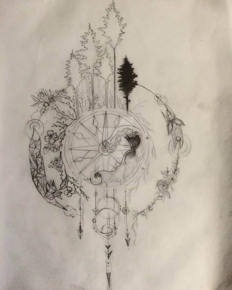 Compass Tattoo Design By Trappedinwires