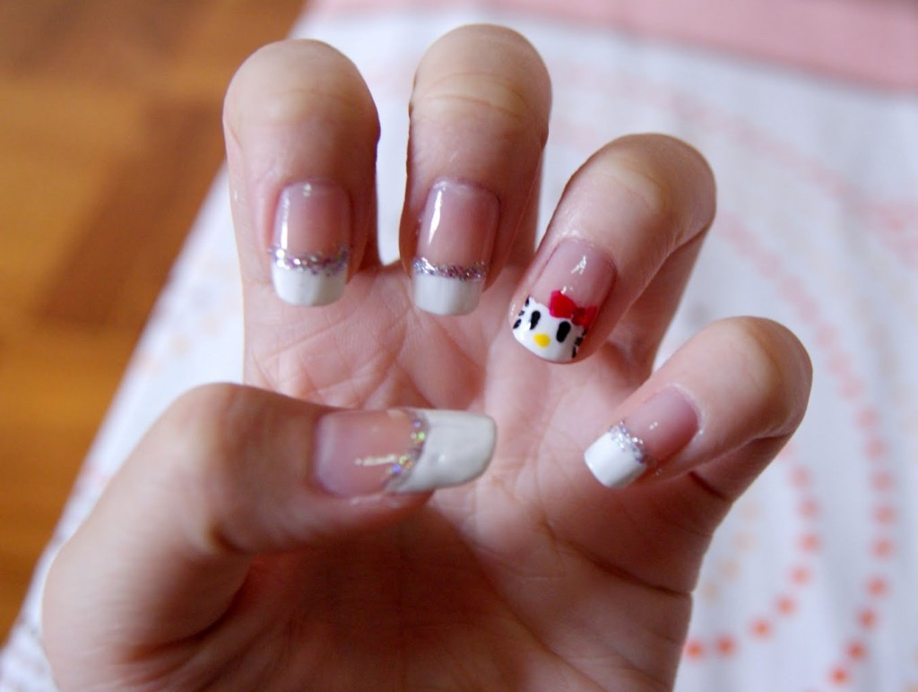 O Kitty French Tip Nail Art Design