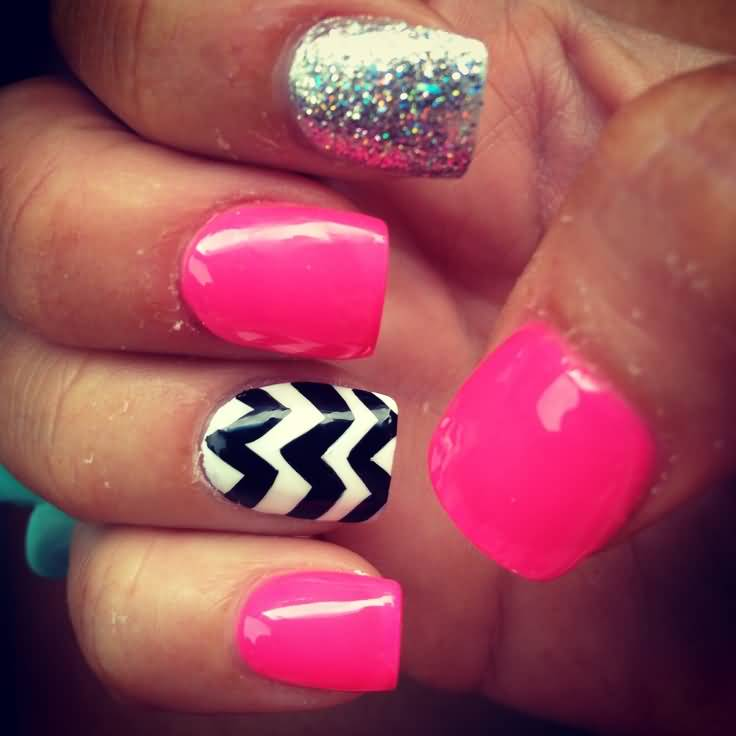 Hot Pink Nails With Accent Black And White Chevron Nail Art