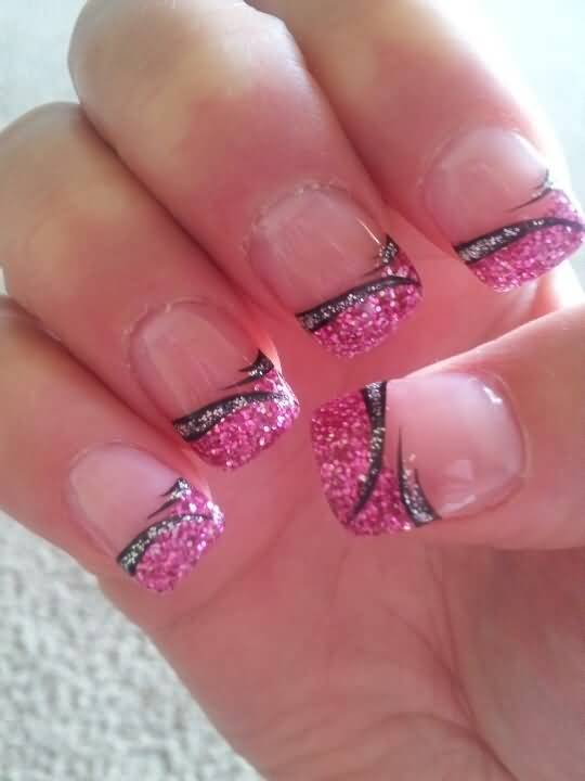 Pink Glitter French Tip Nail Art Design