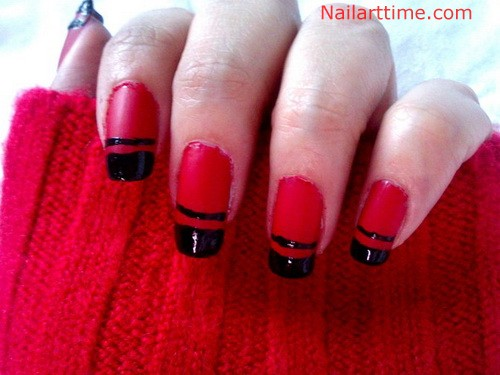 Red Nails With Black French Tip Nail Art