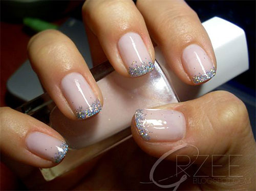 Silver Glitter French Tip Nail Art
