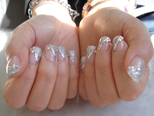 Silver French Tip Nail Art Glitter