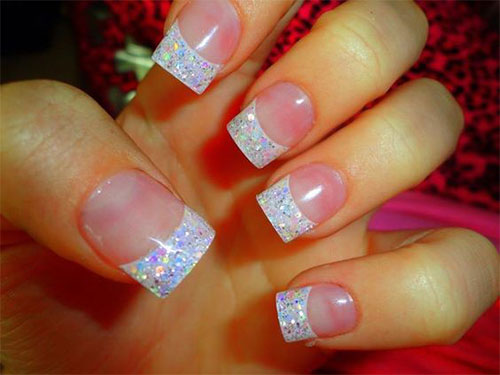 White And Silver Colorful Glitter French Tip Nail Art